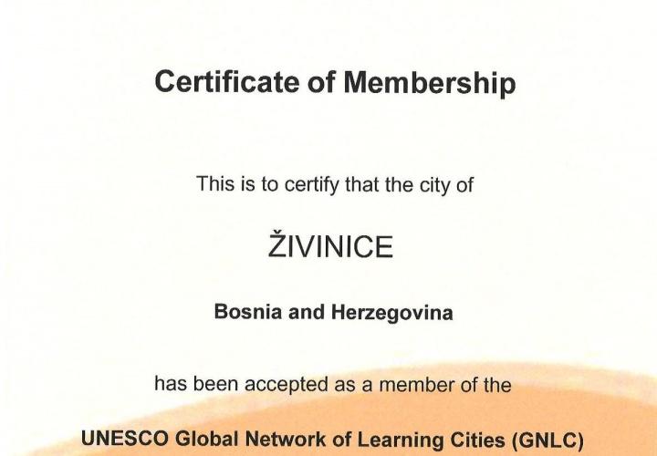Grad Živinice primljen u članstvo UNESCO Globalne mreže gradova koji ulažu u obrazovanje svojih stanovnika